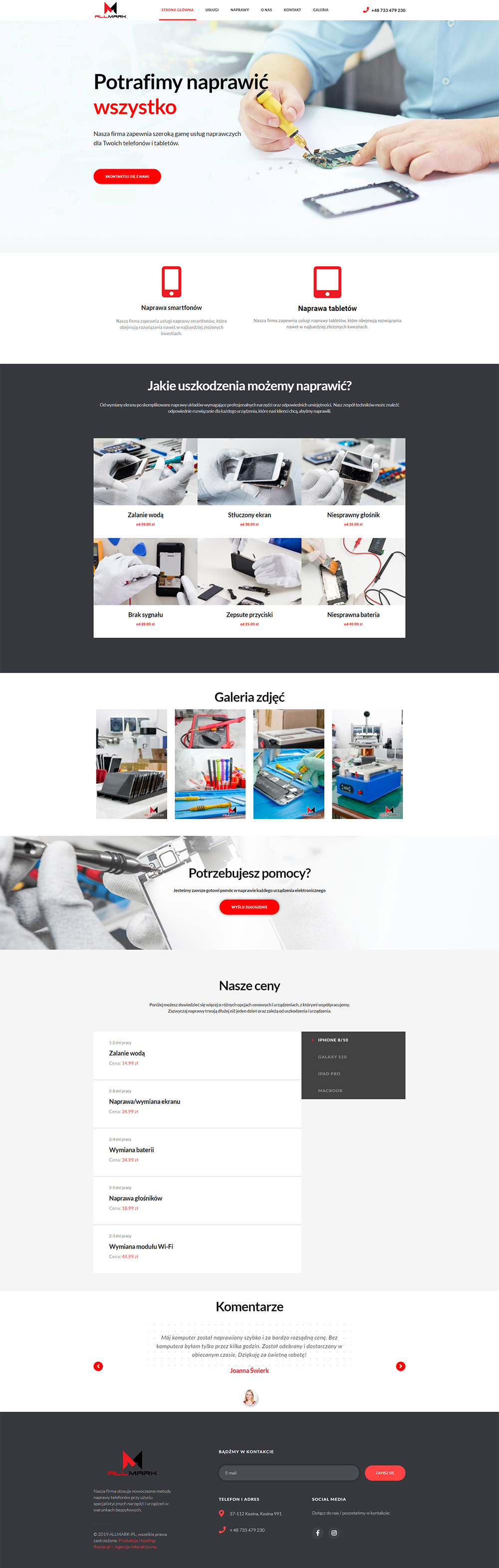 rostar - strony sklepy internetowe - allmark serwis